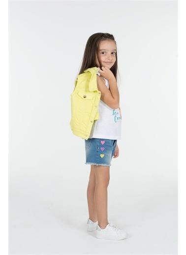 Silversun Kids Kız Çocuk Koyu Denim Kalp Işlemeli Cepli Kot Şort Sc 216044 Mavi